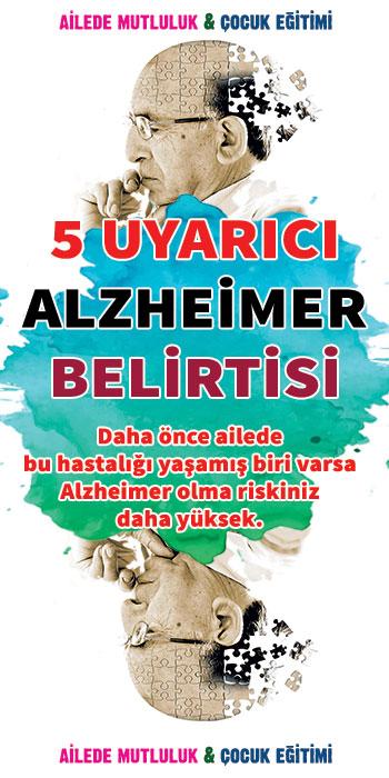 5 Uyarıcı Alzheimer Belirtisi Alzheimer özellikle de 60 yaş üzerinde belirgin olarak ortaya çıkabilen bir tür bunama hastalığıdır. Ne yazık ki, günümüzün bilimsel çalışmaları bile Alzheimer'ın ilerlemesini durduramıyor.